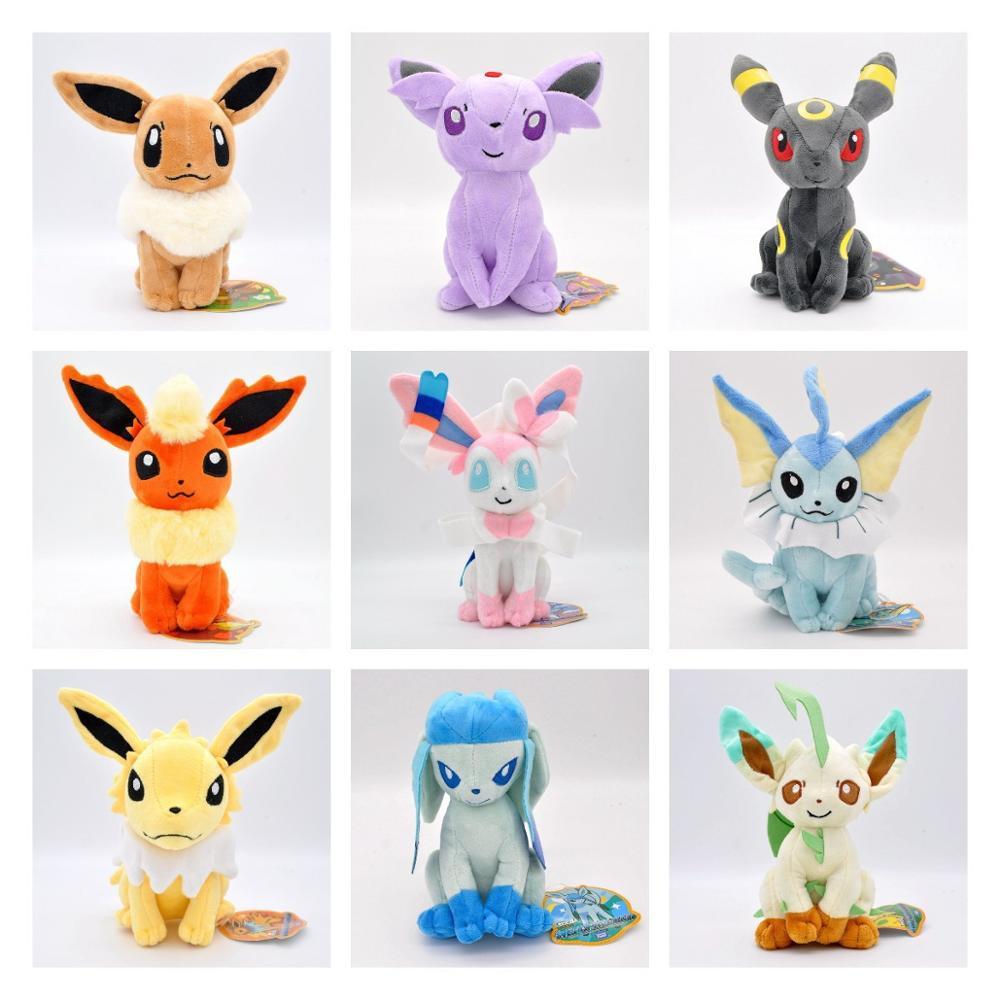 Brinquedo de pelúcia pokemon 22cm glaceon leafeon umbreon espeon jolteon vaporeon flareon eevee sylveon bolso monstro pikachu poké presente
