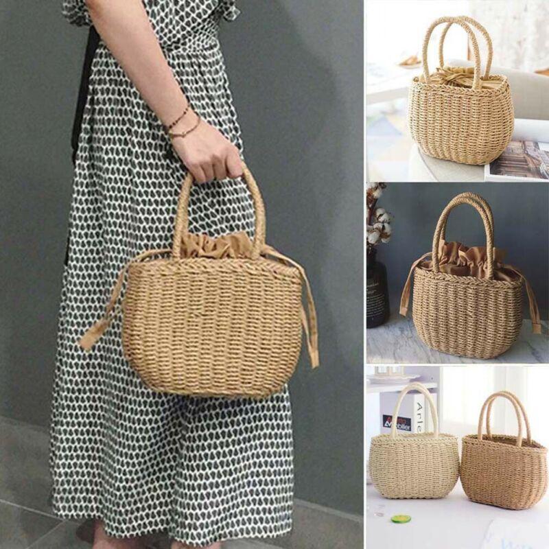 NEW 2020 Straw Bags for Women Rattan Bag Handmade Woven Beach Bag Bohemia Bali Handbag