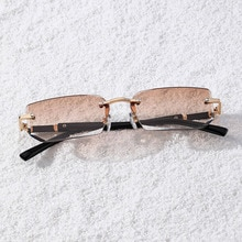 2021 Hot Rimless Sunglasses For Women Men Small Square Frame Jelly Color Sun Glasses Brand Designer