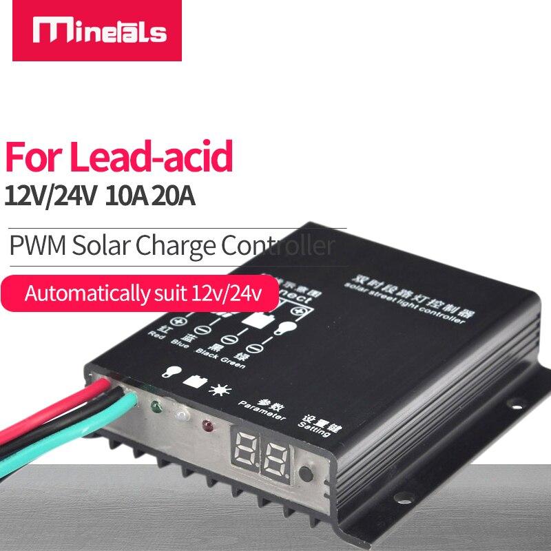 PWM الشمسية جهاز التحكم في الشحن 12 فولت 24 فولت الواح البطاريات الشمسية منظم 10A/20A Waterpoof الشمسية مفتاح التحكم في إنارة الشوارع