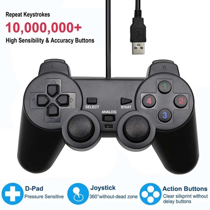 USB Wired Controller Gamepad For WinXP/Win7/Win8/Win10 For Computer Laptop Joystick For Vista Black Vibration PC Game Joystick