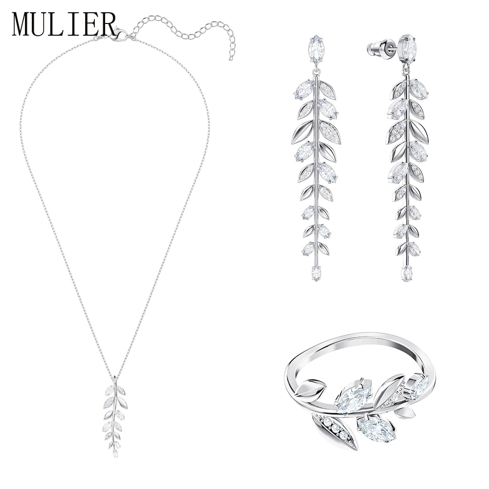 MULIER 2019 nouveau SWA MAYFLY exquis feuilles pendentif collier ensemble approprié pour petite amie cadeau romantique 5423183 5446037 5423184