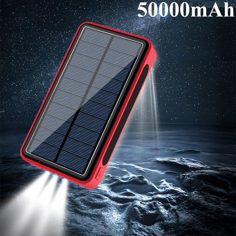 50000mAh بنك الطاقة الشمسية المحمولة شاحن 4 USB بنك الطاقة الخارجية Powerbank آيفون 12 باد ماك بوك الهواتف أقراص