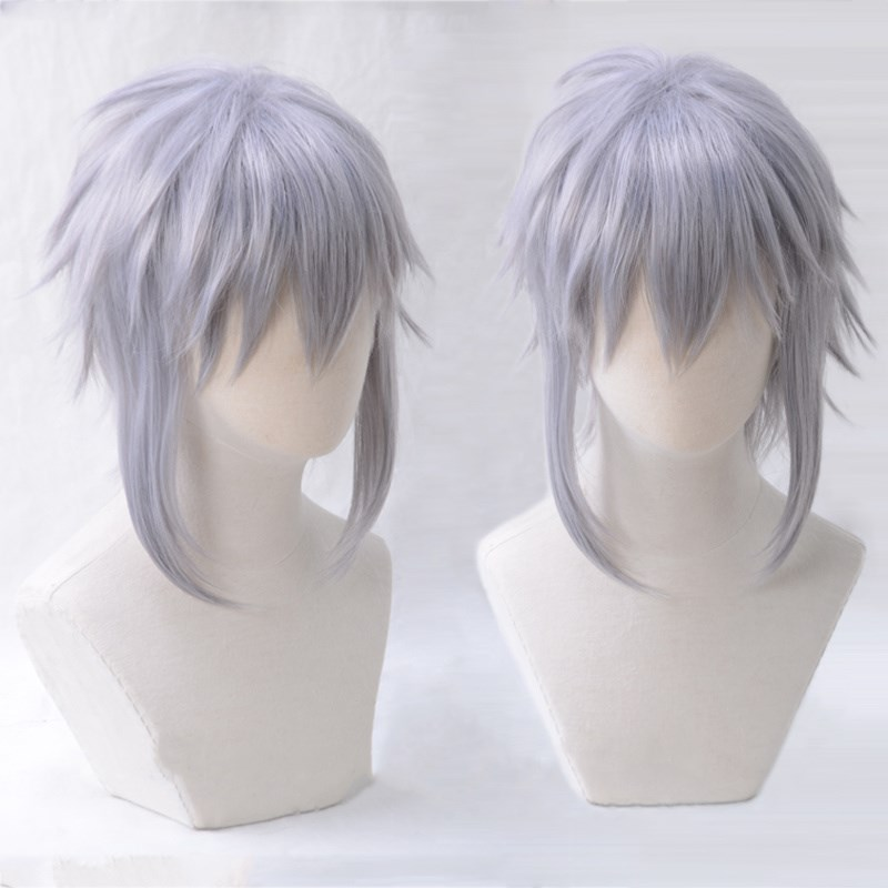 Game KINGDOM HEARTS 3 Riku Short Gray Purple Wig Heat Resistant Synthetic Hair Cosplay Costume Wigs + Wig Cap