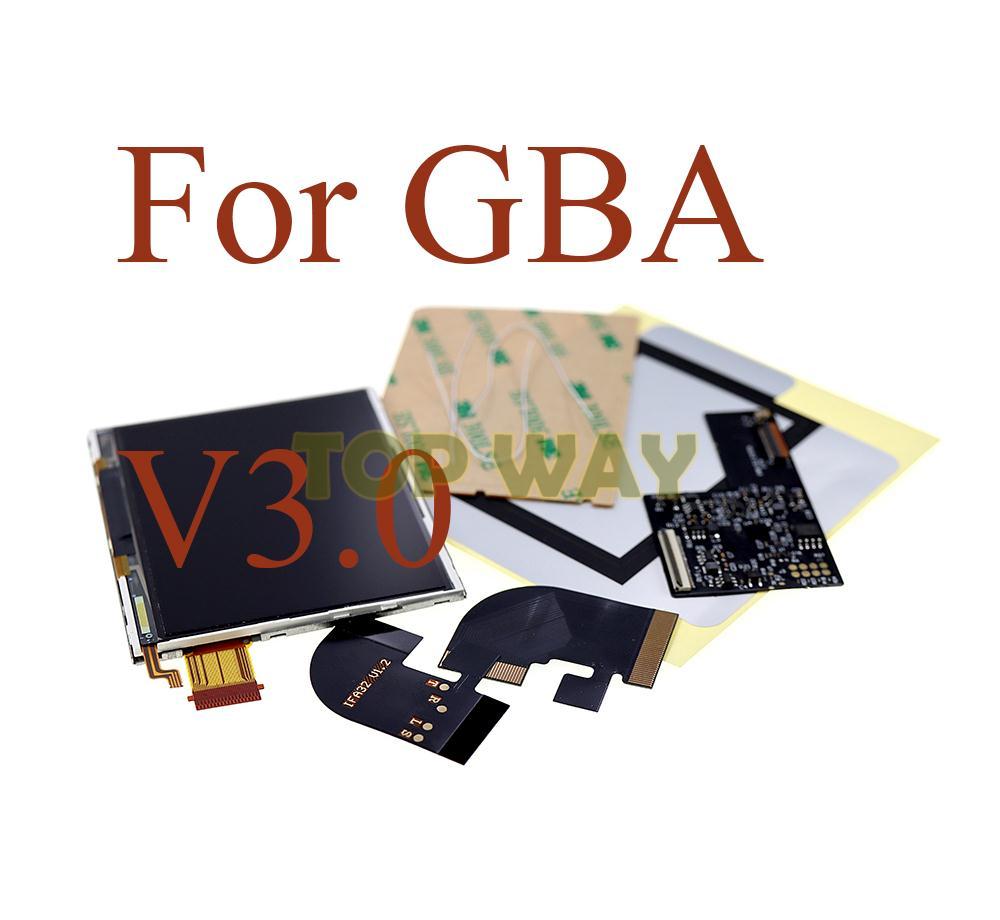 1set IPS V3.0 LCD مجموعات الشاشة مع قبل قطع قذيفة الحال بالنسبة GBA الخلفية LCD V3 شاشة 10 مستويات سطوع عالية لوحدة التحكم GBA