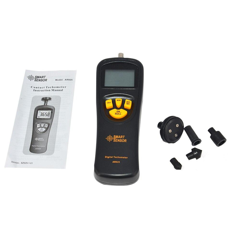 SENSOR inteligente Original 0,5 RPM 19999 RPM AR925 contacto tacómetro Digital medidor con pantalla LCD de retroiluminación medidor de medición de velocidad