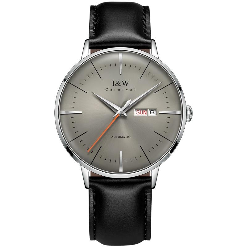 Montre أوم العلامة التجارية الفاخرة I & W الموضة التلقائي ساعة ميكانيكية الرجال ساعة يابانية حركة الساعات الياقوت التقويم مقاوم للماء