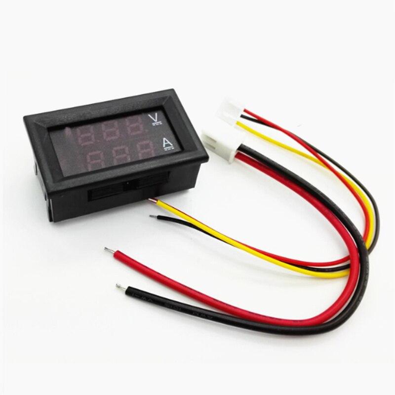 "0,28 ""DC 0-100V 10A voltímetro amperímetro LED Amp Dual Digital voltímetro indicador de voltaje corriente roja + azul rojo + rojo"