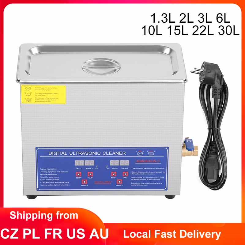 1.3L 2L 3L 6L 10L 15L 22L 30L Ultrasonic Cleaner Digital Timer Stainless Steel Bath Jewelry Glasses