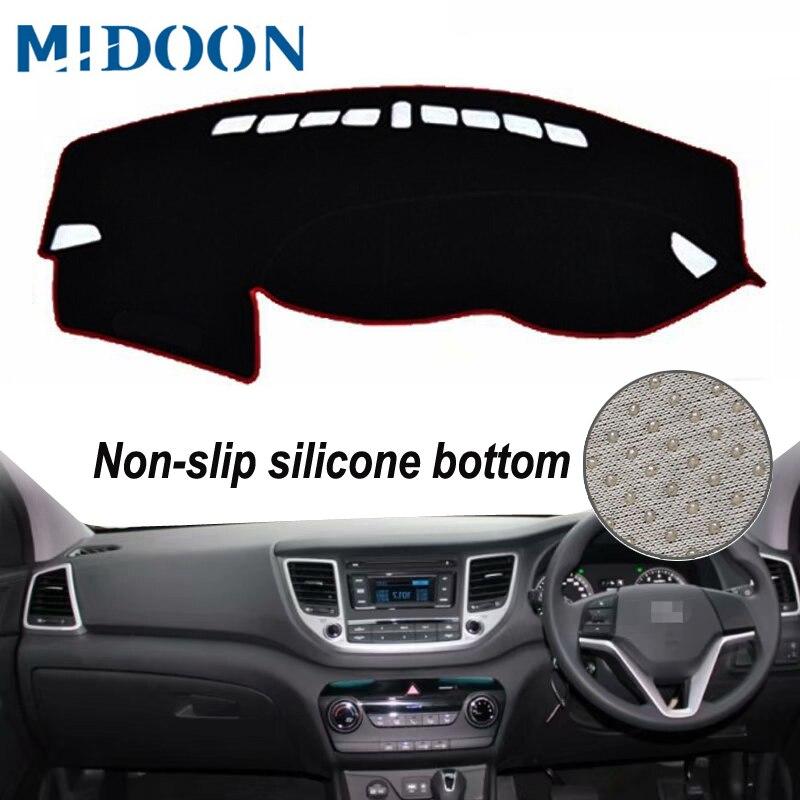 MIDOON para Hyundai Ix35 Tuscon 2015, 2016, 2017, 2018, 2019 cubiertas de diseño salpicadero Dash Mat sombra de sol del tablero, alfombra sol