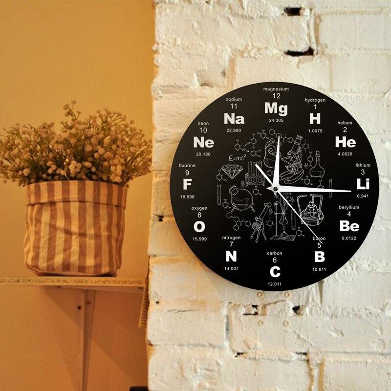 LIXF Tabla de elementos de pared de arte químico símbolos de pared Reloj de pared educativo de exhibición de elementos reloj de salón de clases Gif del maestro