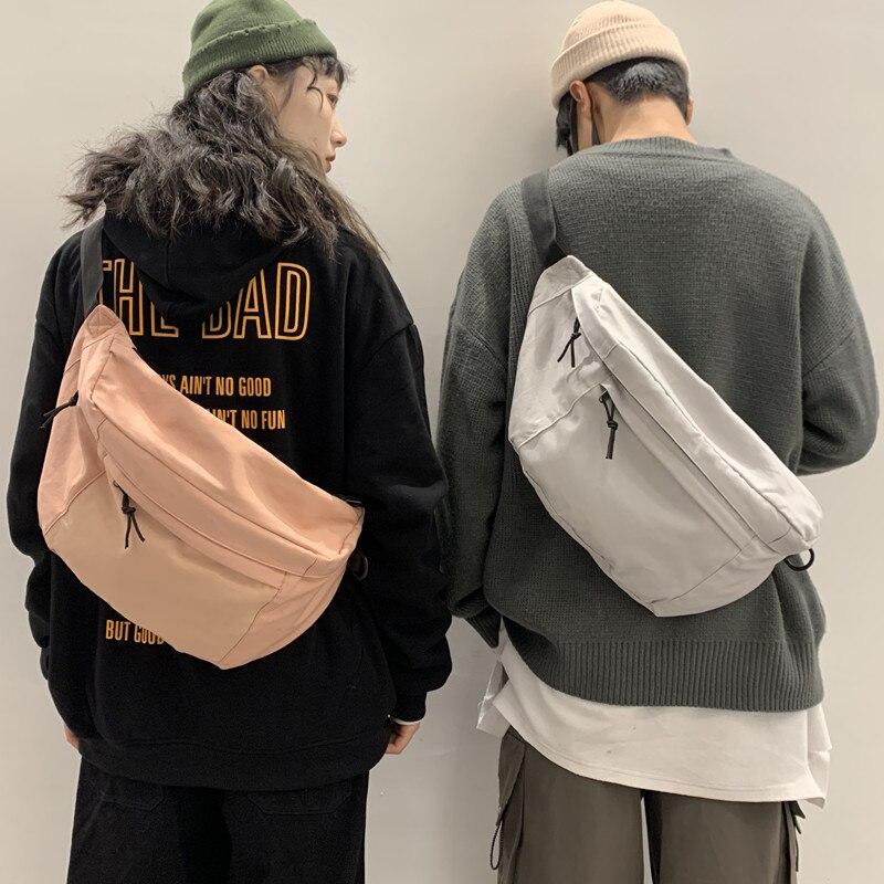 Bolso cruzado de lona para mujeres bolso japonés ins super hot joker gran capacidad Hong Kong wind street logo popular bolsa de pecho para hombre Fan