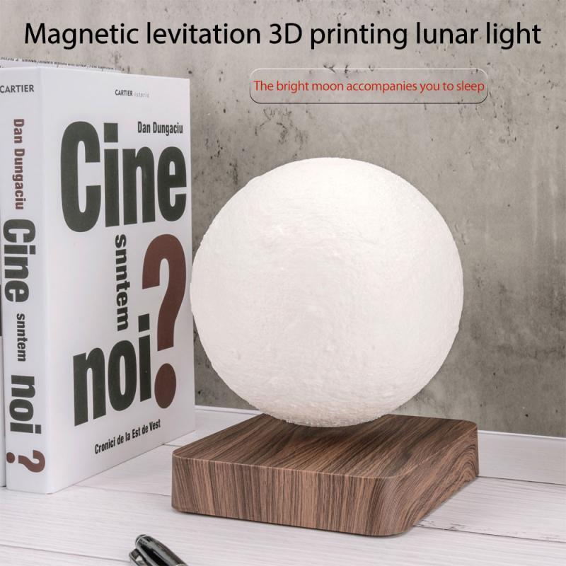 12V 1A 3D Magnetic Levitation Moon Lamp Saturn Night Light Rotating Led Floating Lamp Home Decoration Living Room Bedroom Gifts enlarge