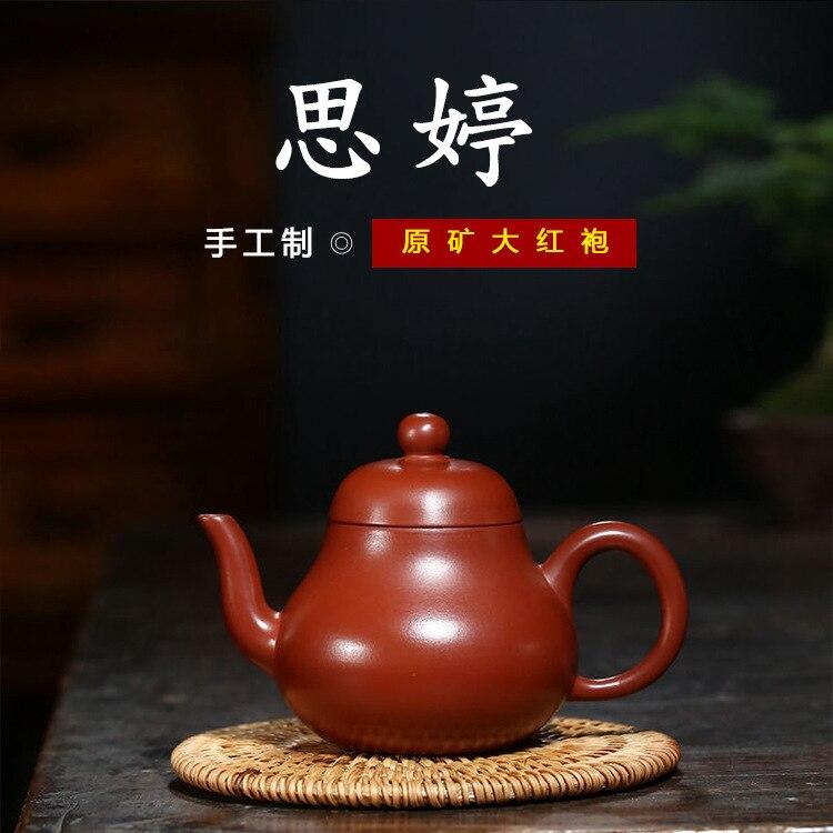 Yixing-إبريق شاي يدوي من الطين الأرجواني الخام ، طقم شاي منزلي