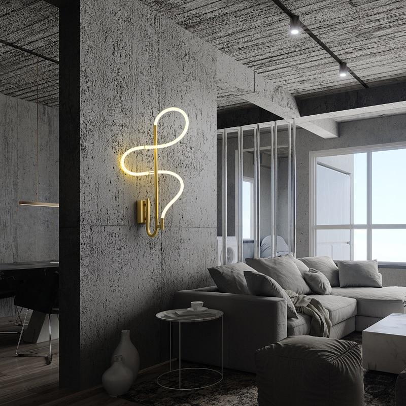 Moderne LED Schlauch Wand Lampe Dekoration für Korridor Nacht Aisle Gold Glanz Kurve Kupfer Leuchte Innen Beleuchtung Hause Leuchten