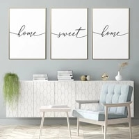 Affiches scandinaves maison douce maison lettre toile peinture minimaliste mur Art  famille citation photos salon decor a la maison