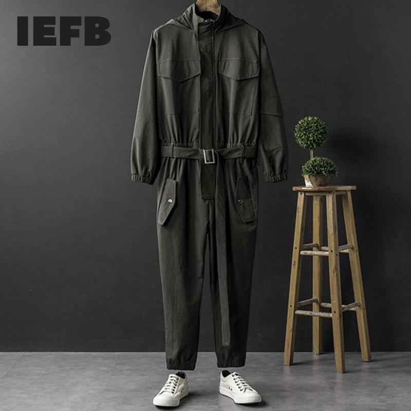 IEFB الرجال و ملابس نسائية الهيب هوب مقنعين سترة بذلة طويلة الأكمام واحدة الصدر Ttrousers مع حزام الربيع الخريف القماش Y8185