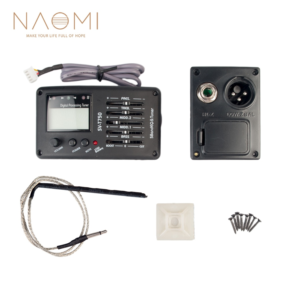 acoustic guitar pre wired preamp 5 band eq tuner piezo pickup NAOMI Guitar Preamp Equalizer Digital Tuner 5 Band EQ Pickup SV-T750 LCD Tuner And Volume Control For Acoustic Guitar/Bass