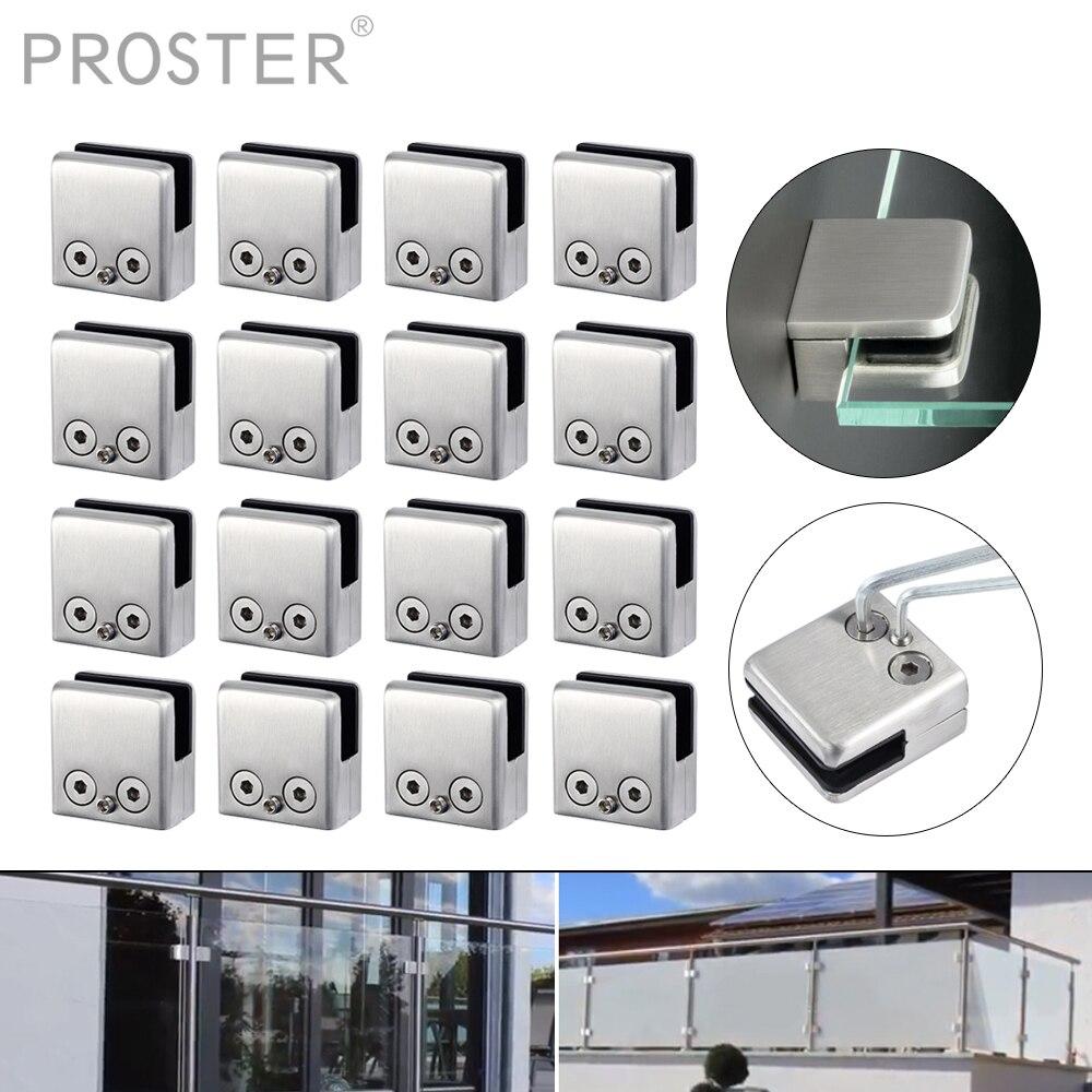 Proster 16Pcs Glasklem Rvs Beugel Platte Clip Voor 8-12Mm Glas Professionele Decor Hardware Kit met Hexagon Driver