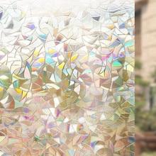 HOHOFILM 90cmx50cm 3D Fashine Laser rainbow Static Window Film House Office Decor no glue Removable