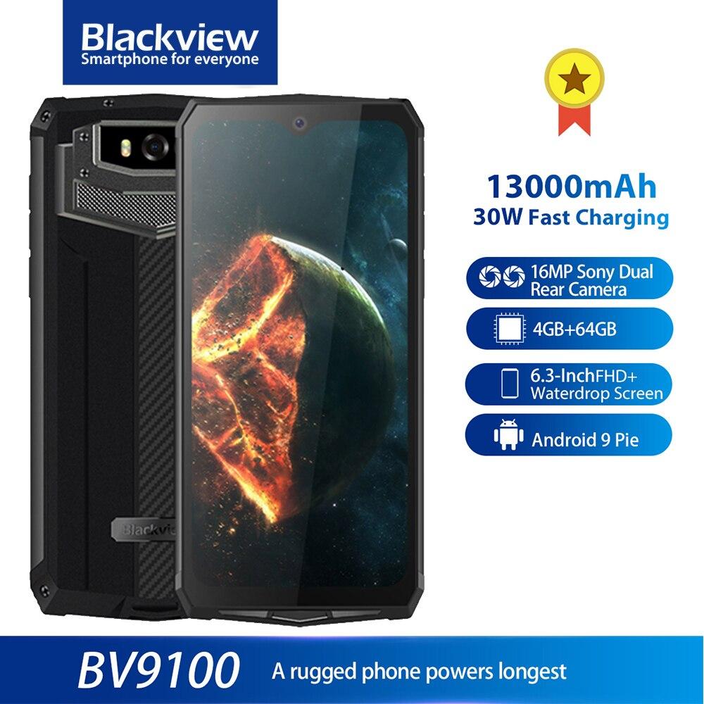 Смартфон Blackview BV9100 защищенный, IP68, 6,3 дюйма, FHD +, 13000 мА · ч, 4 + 64 ГБ, Helio P35, 8 ядер, Android, быстрая зарядка 30 Вт