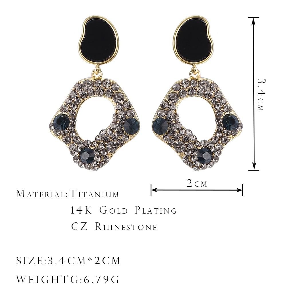 ONYSS Acrylic Display CZ Rhinestone Big Long Luxury 2021 Trend Jewelry Earring For Women Embedded in Ear