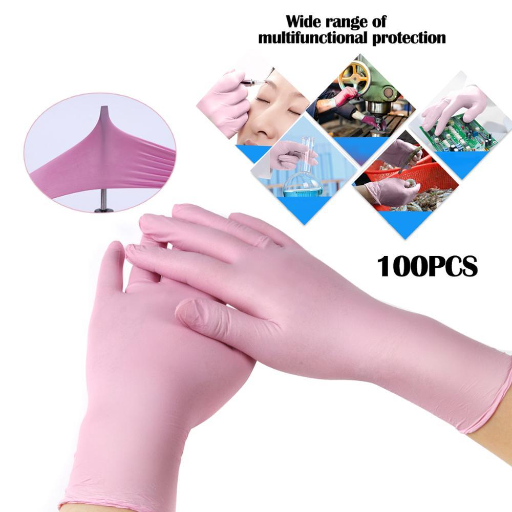 Pink/Blue Disposable Gloves Latex For Home Cleaning Disposable Food Gloves Cleaning Gloves XS/S/M/L/XL Anti-slip Acid/Alkali enlarge