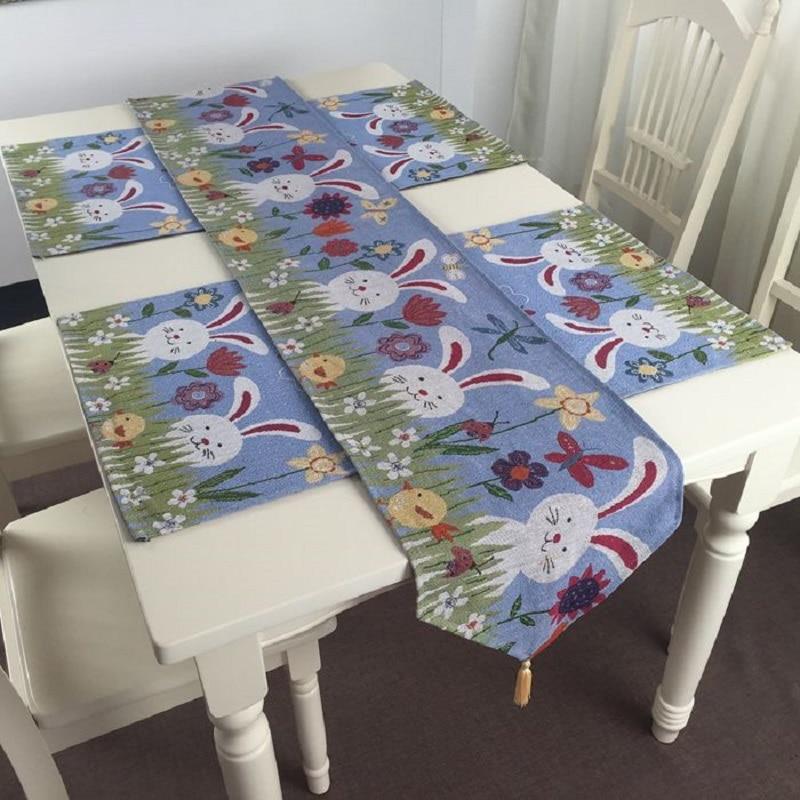 Mantel para mesa de Estilo conejo de Pascua y Mantel Individual para decoración de Pascua
