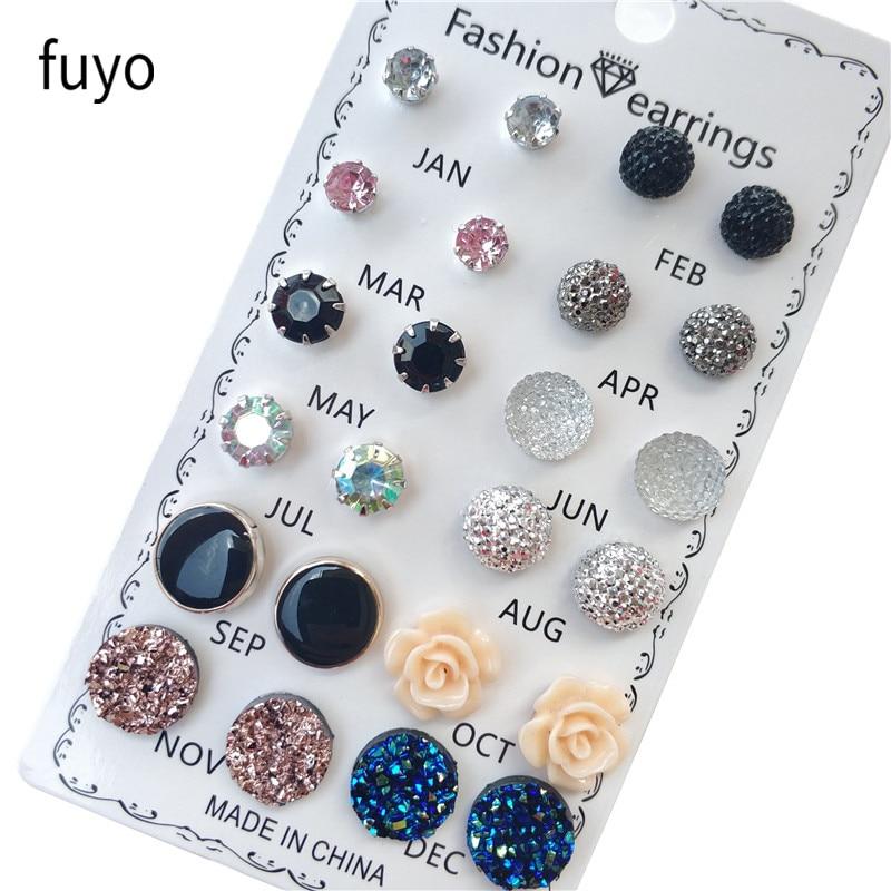 12 paar / set kristal mode oorbellen set vrouwen sieraden piercing - Mode-sieraden - Foto 1