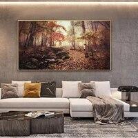 Peinture a lhuile de paysage dautomne  feuilles tombantes  toile dart  salon  couloir  bureau  decoration murale de la maison