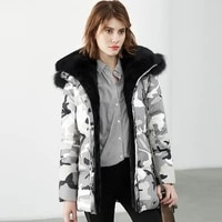 europe women winter parka with real fur 2020 new real fur collar camouflage white duck down jacket womens long thickened coat