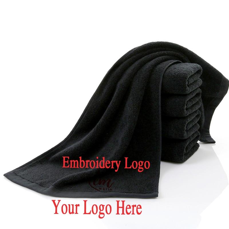 6 uds Toalla de algodón negro para peluquería toalla personalizada bordado sin decoloración toallas de baño Toalla de Playa Grande regalo corporativo