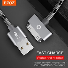 PZOZ USB Cable Charge Fast Charging for iphone 4 s 4s 3GS 3G iPad 1 2 3 iPod Nano itouch 30 Pin Char