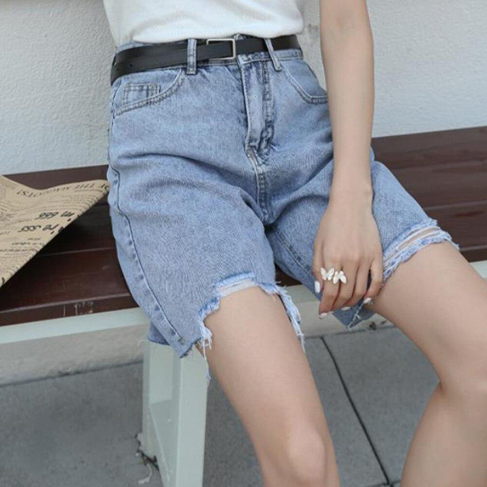 Denim Long Shorts Women Streetwear School Girl Knee Length High Waist Ripped Wide Leg Jean Shorts Blue Loose Half Short Femme