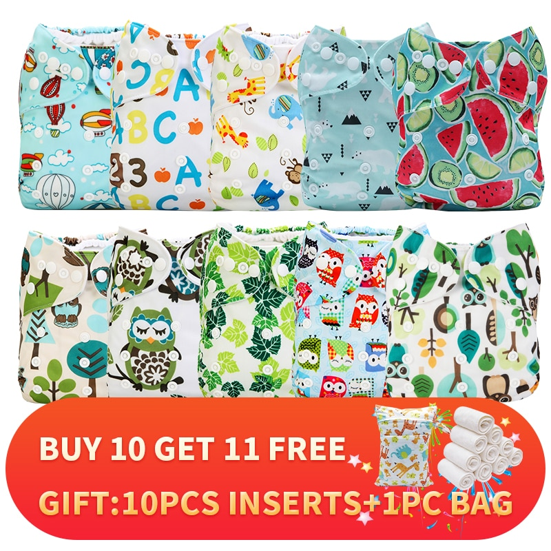 [Mumsbest]21pc Ecological Diapers Panties Washable Nappy Bebe Disposable Diapers For Children 10pc diaper+ 10pc inserts+ 1pc Bag