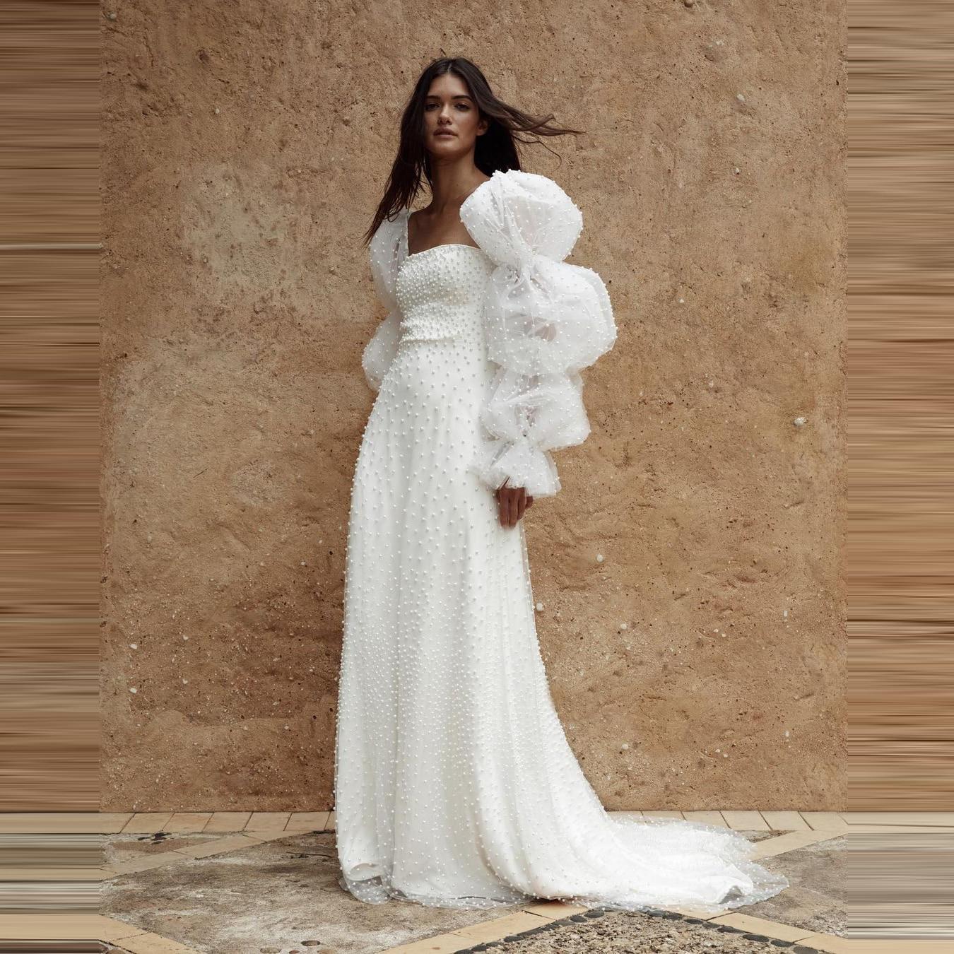 فساتين زفاف لؤلؤية لطيفة منتفخة بأكمام طويلة خط حجم كبير نمط دبي فساتين الزفاف مصنوعة حسب الطلب