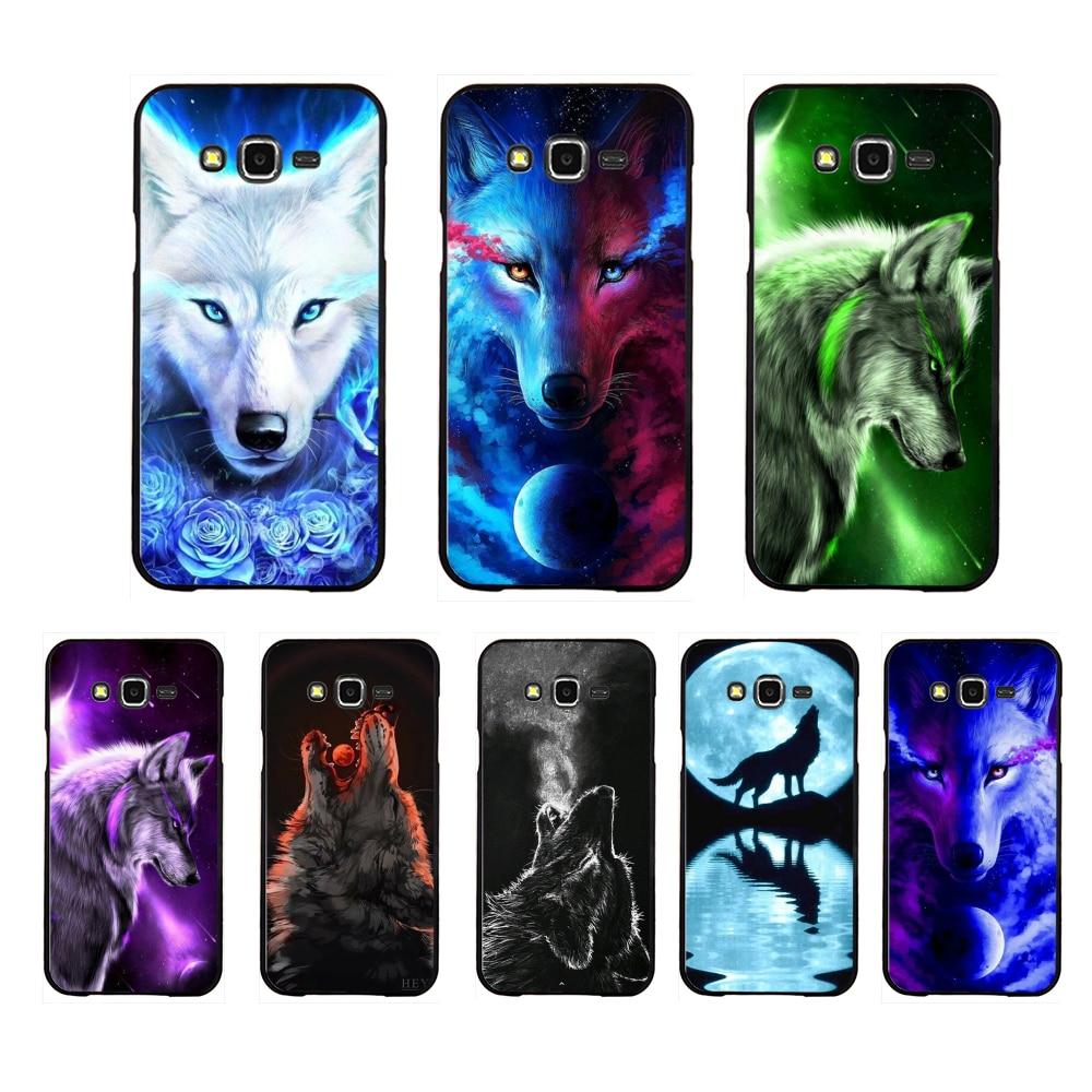 NBDRUICAI colorido Lobo arte cubierta caliente negro suave funda del teléfono carcasa para Samsung Galaxy J7 J8 J3 J4 J5 J6 Plus 2018 Prime
