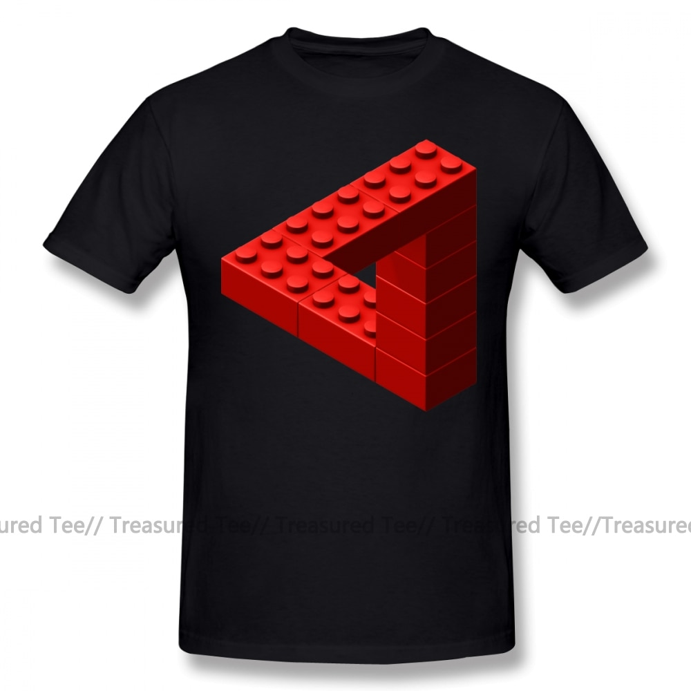 Camiseta Escher, camiseta roja de bloques de juguete Escher, camiseta bonita 6XL, camiseta gráfica de moda para hombre, 100 Camiseta de algodón de manga corta