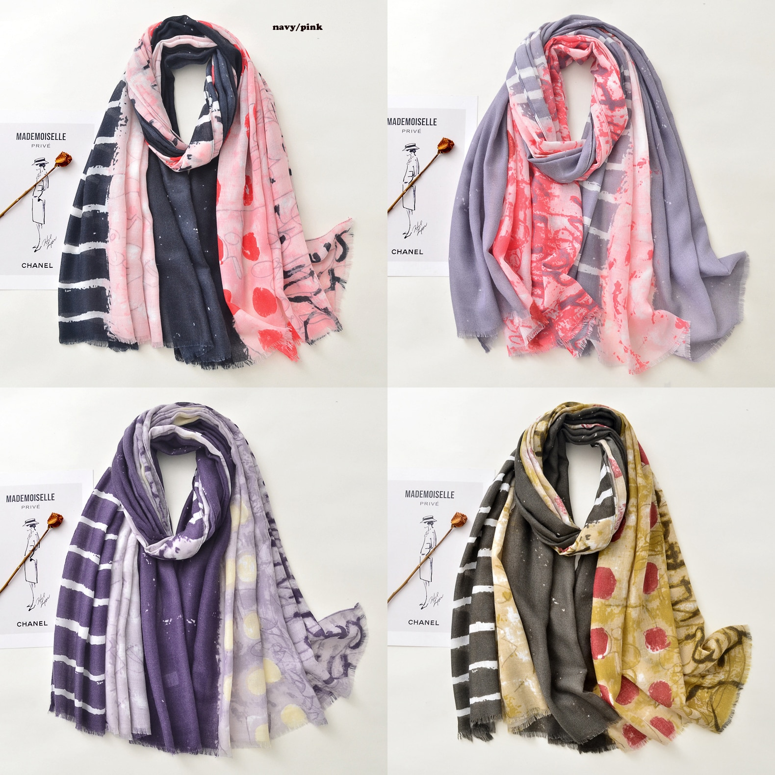 2021 Newest Women Geo Printed Pattern Cotton Scarf Shawls Wraps 4Colors