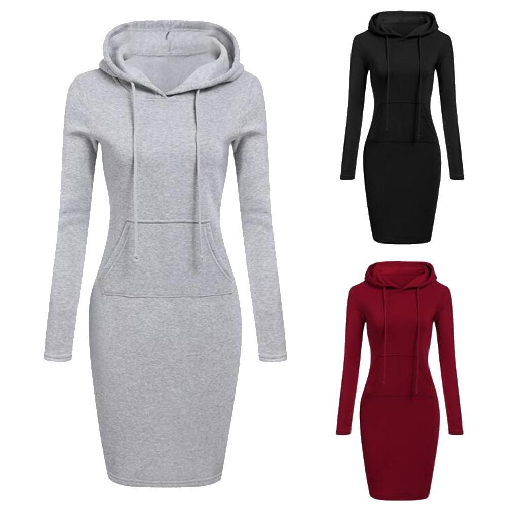 Hoodie Autumn Winter For Women Solid Color Sport Long Sleeve Sweatshirt Pocket Slim Pullovers Ladies Casual