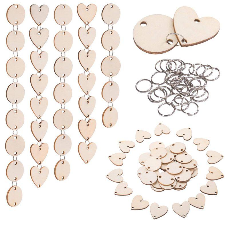 200 unidades en Total, círculos de madera, etiquetas de corazón de madera con agujeros y anillos de 12 mm para tableros de cumpleaños, San Valentín, tablas de trabajo, A