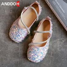 Size 26-36 Children Wear-resistant Fashion Shiny Leather Shoes Girls Princess Single Shoes Kids Non-