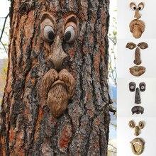 Bark Ghost Face Facial Features Decoration Halloween Xmas Easter DIY Outdoor Garden Creative Props M
