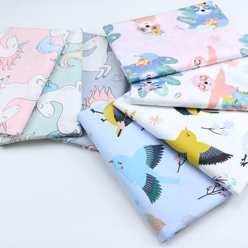 DIY pájaro punto patrón tela de algodón sarga Paquete de costura tela de edredón artesanías para hecho a mano hoja almohada cortina mantel