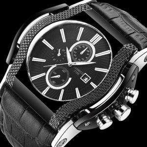 mens watches BOAMIGO brand men quartz watches big dial leather wristwatches 2017 luxury auto date gift clock relogio masculino