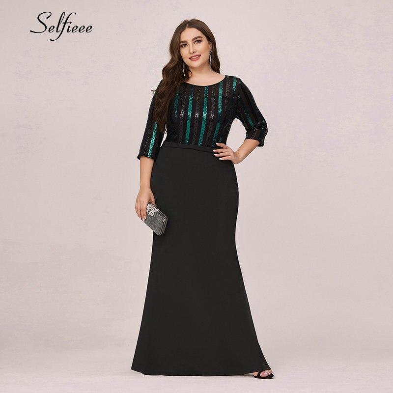 Mais tamanho preto vestido feminino sereia o pescoço 3/4 manga lantejoulas listrado bodycon vestido laides formal vestido de festa robe de soiree