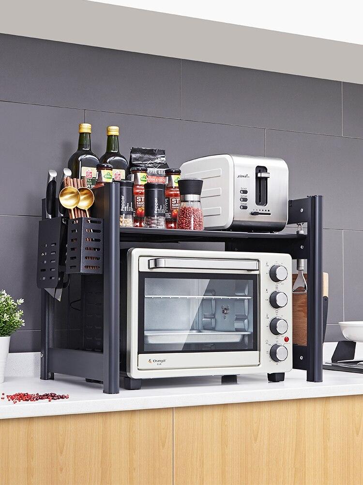 ¡Singapur gratis! Estante retráctil de horno microondas de cocina negro de altura larga 2 arroceras de doble capa para el hogar