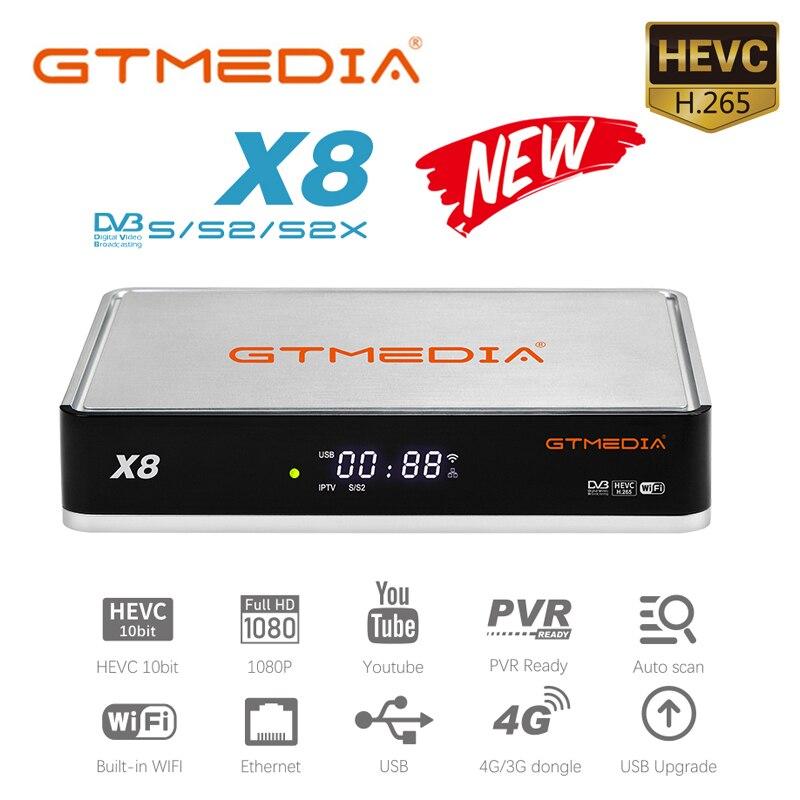 GTMedia X8 استقبال الأقمار الصناعية 1080P DVB-S2 S2X متعدد تيار دعم أوروبا اسبانيا ccam M3U السيارات Biss فك التشفير