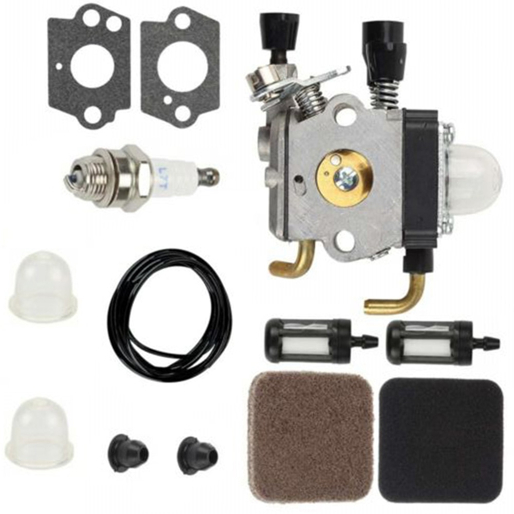 Carburador para Stihl FS85 FS75 FS80 KM85 HS75 HS80 HS85 Carb filtro de combustible y aire Kit 2 pies negro combustible línea juntas filtros de aire