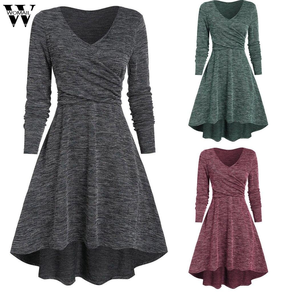 Womail Dress Women Autumn Fashion V-Neck Long Sleeve Dress Solid Loose Long Sleeve Women Dress Casual Asymmetric party plus size